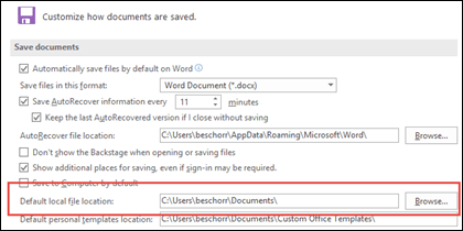 outlook set default document directory