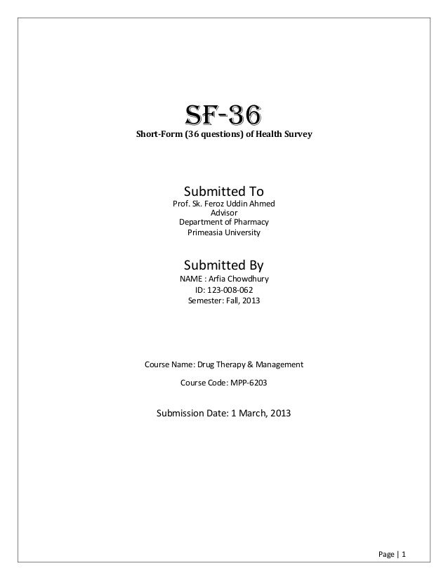 sf 36 questionnaire word document
