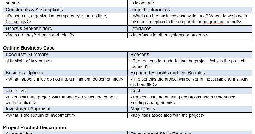 project definition document template prince2