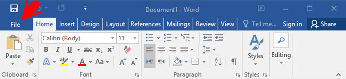 where is the manage document tab in word