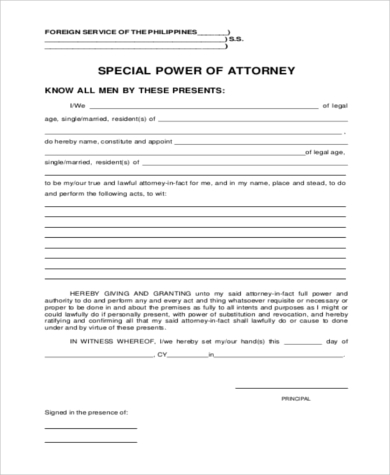 power of attorney document usa