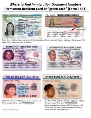 what is the document number on a permanent resident card