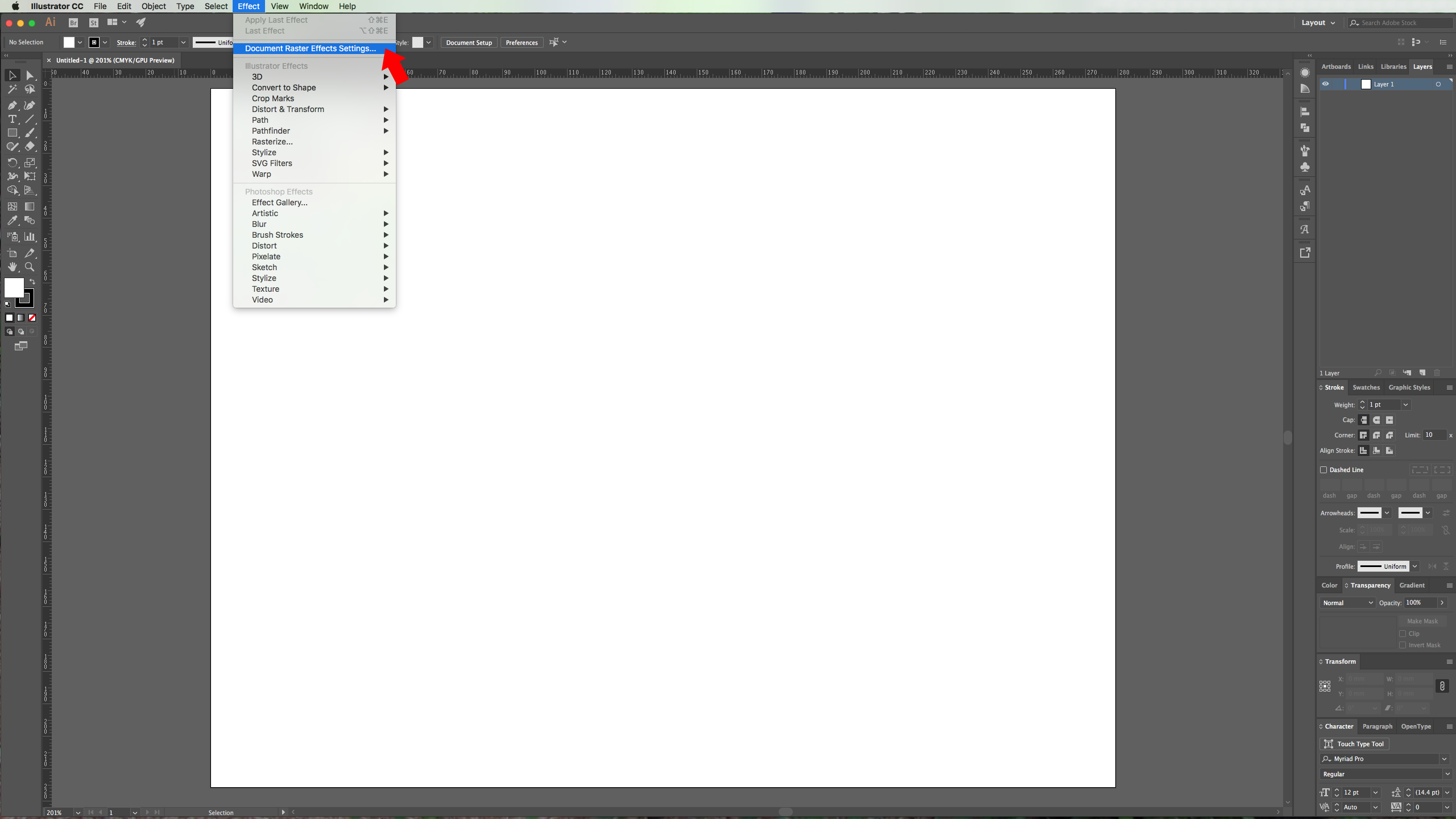how to change document raster effects in illustrator