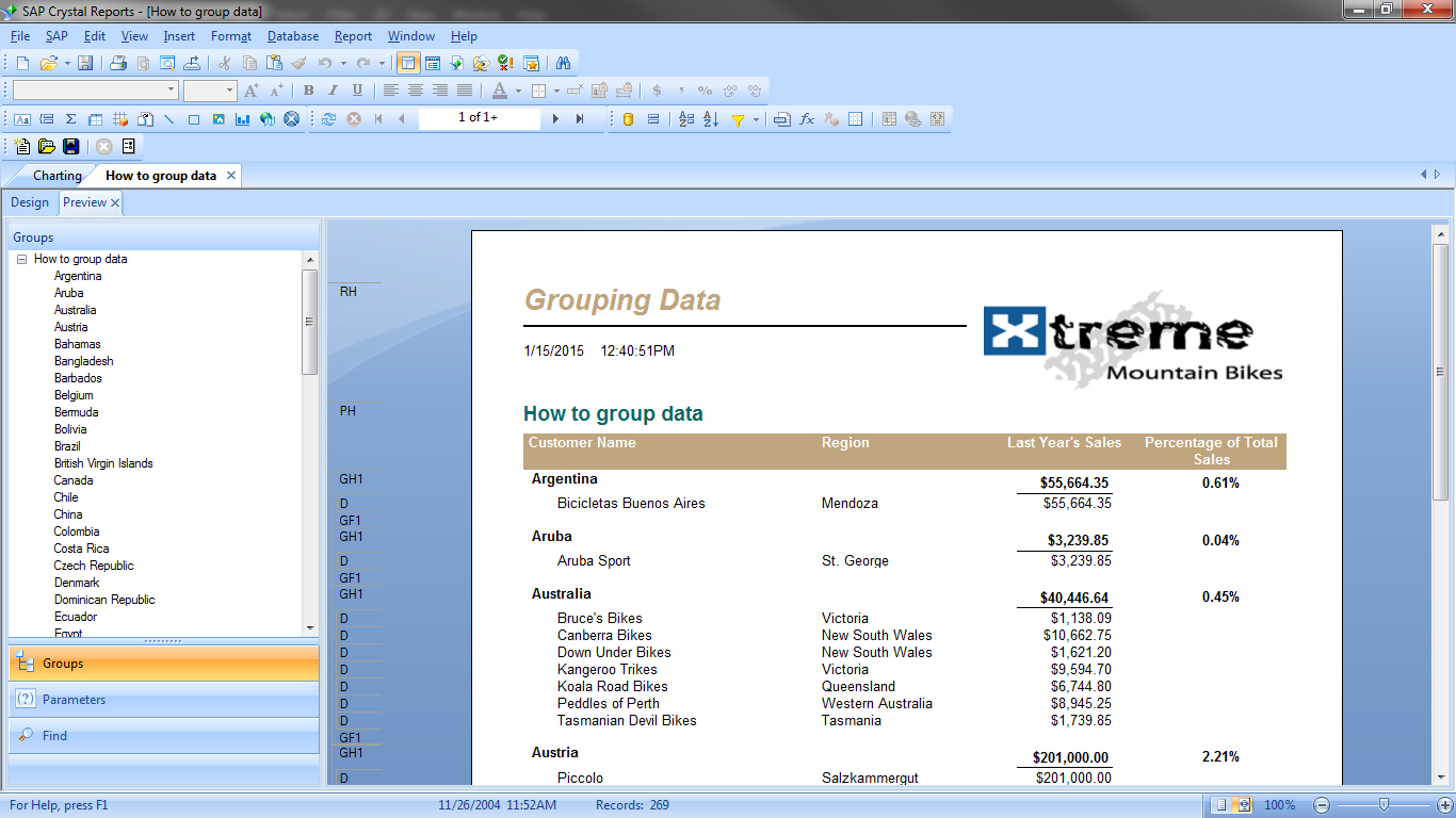 crystal reports design document template