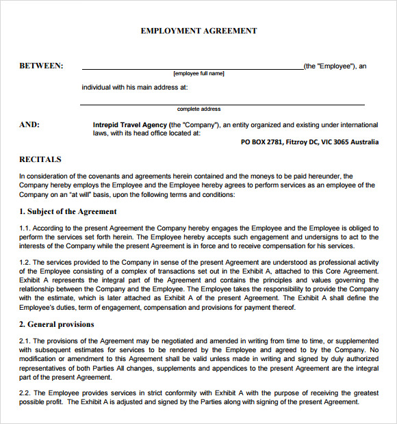 employment contract sample word document