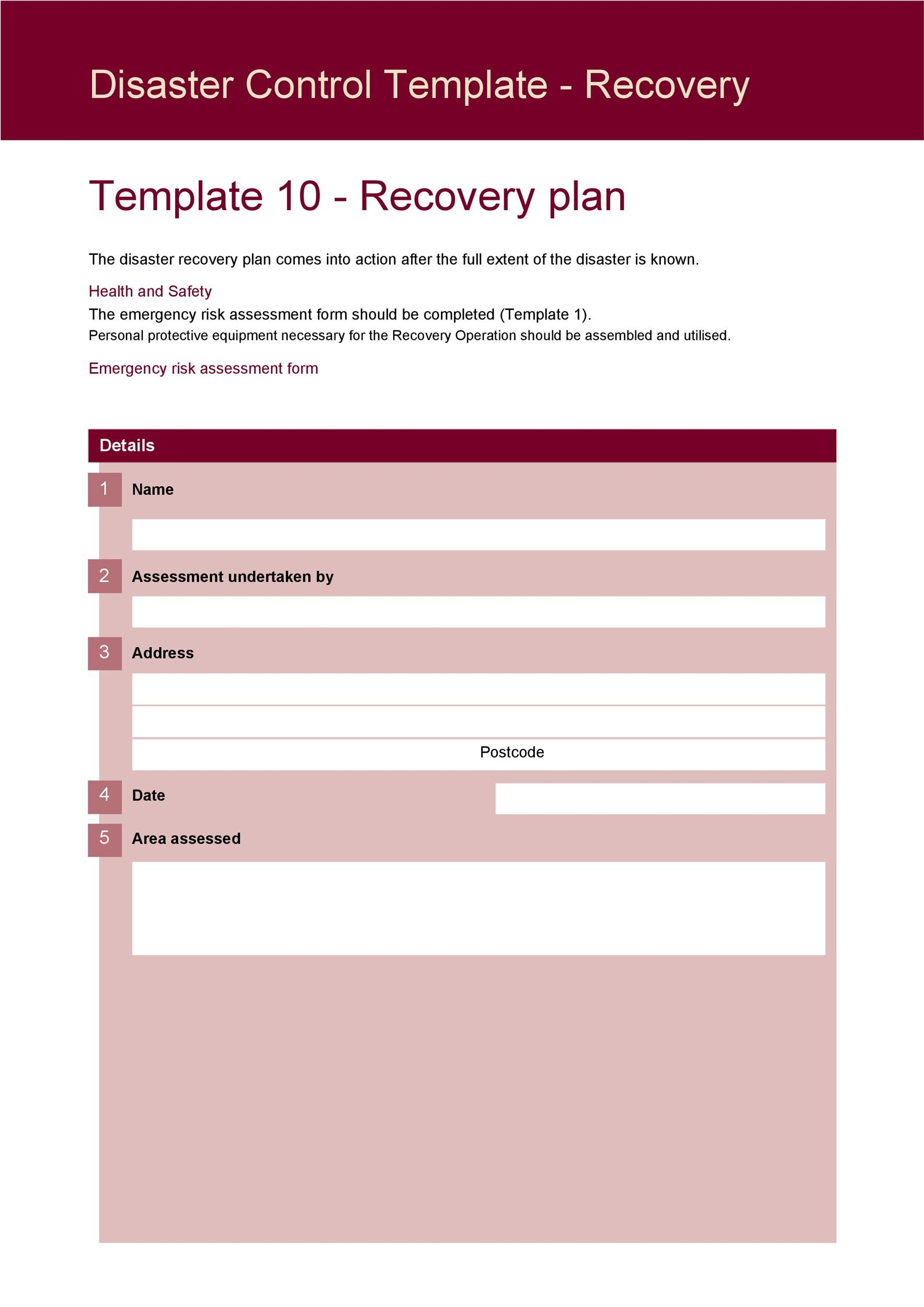 disaster recovery plan template document