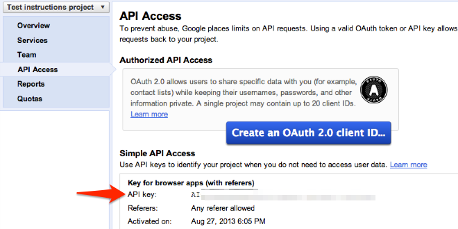 google api oauth documentation