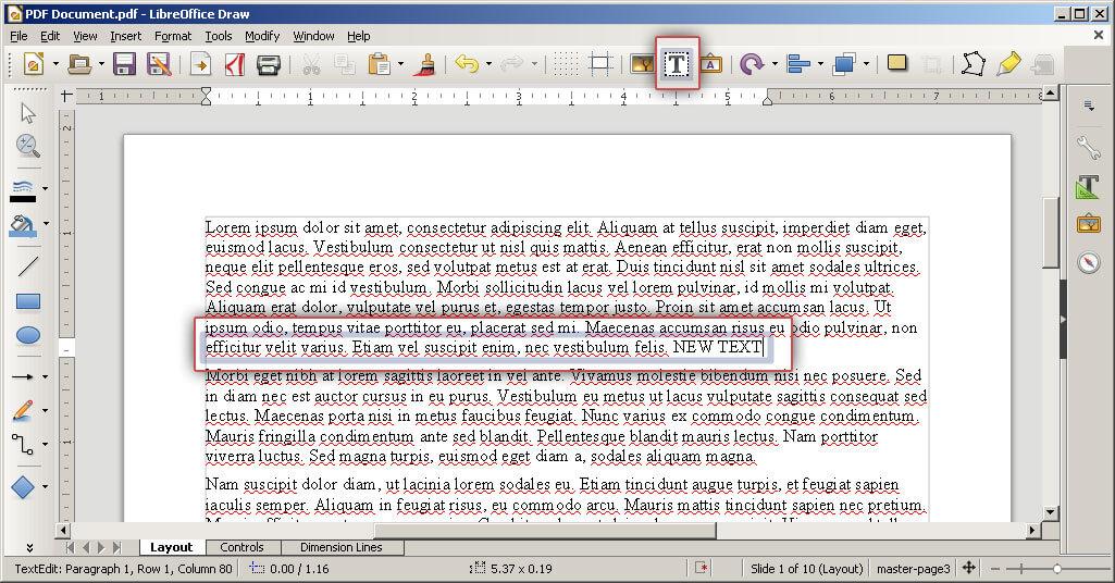 edit text in pdf document freeware