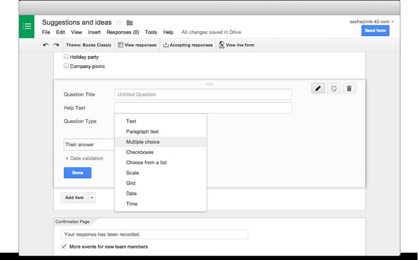 google docs put spreadsheet inside document