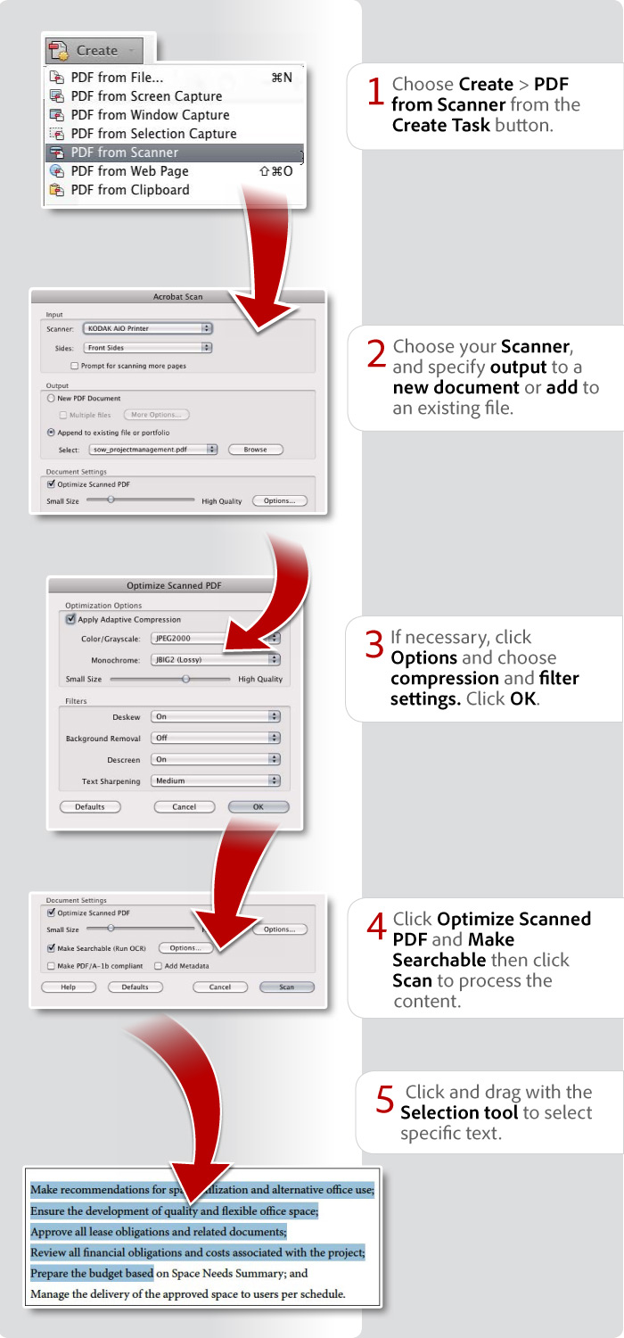 how do i scan a document as a pdf