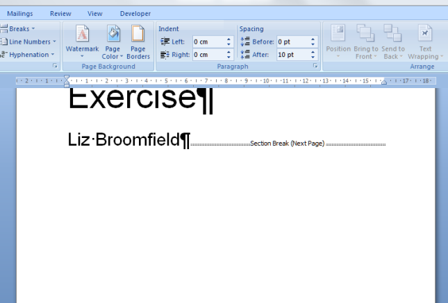 how to break an ms word document